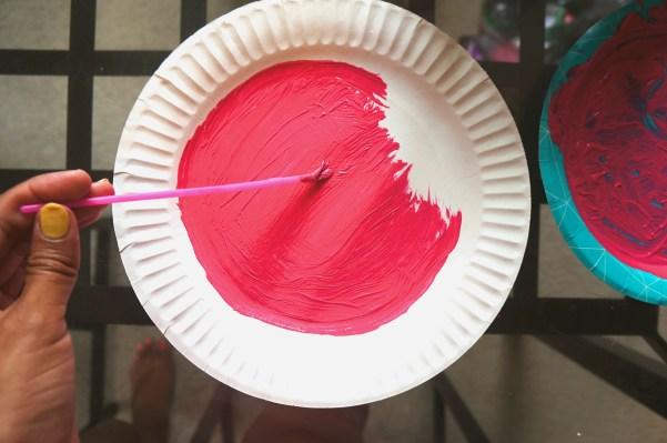 Watermelon fan craft - Painting paper plate watermelon pink
