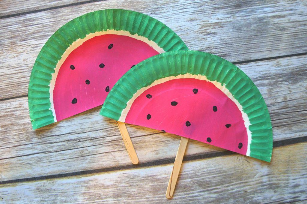 DIY Paper Plate Watermelon Fans Craft Such A Cute Summer