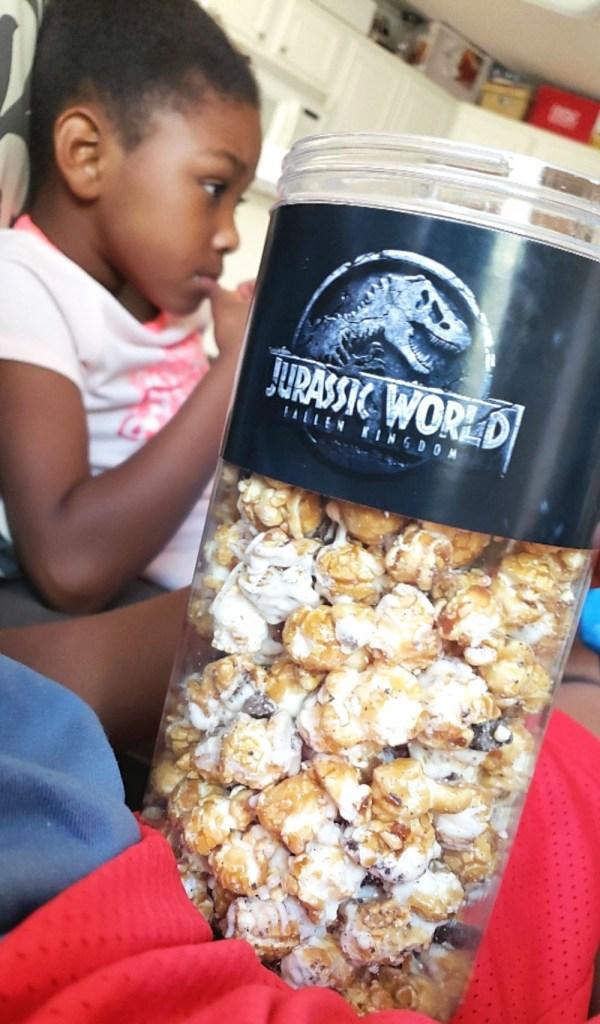 Jurassic World Bluray - Family watching Jurassic World Fallen Kingdom DVD movie night