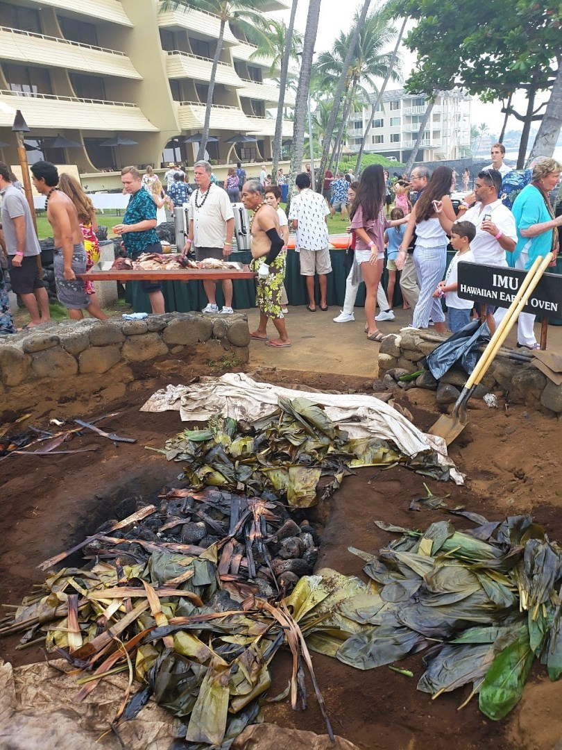 Inside the Imu underground oven where kalua pig is cooked at a Hawaiian luau