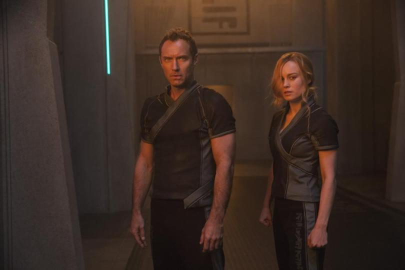 Still images from Captain Marvel movie, Walter Lawson and Carol Danvers