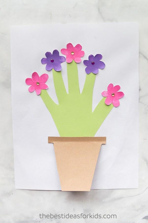 Mothers Day Handprint Flower pot craft