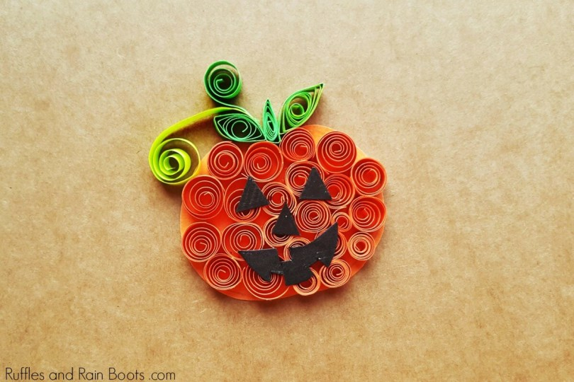 Fun Halloween Craft for Kids Quilled Pumpkin, Ruffles and Rainboots