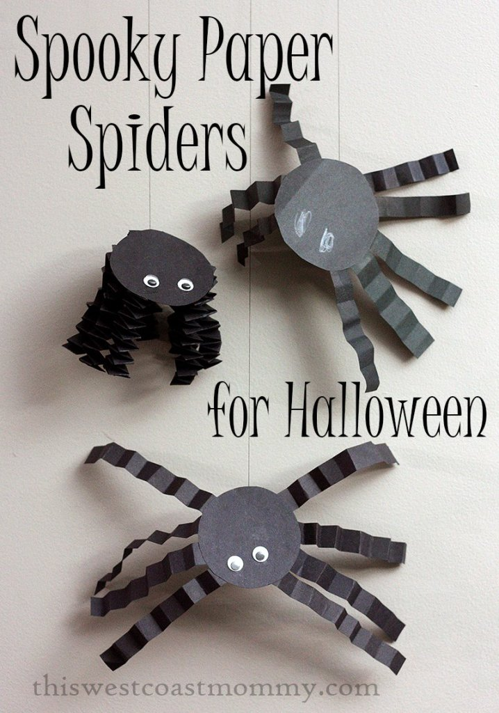 Spooky paper spiders Halloween craft, This West Coast Mommy