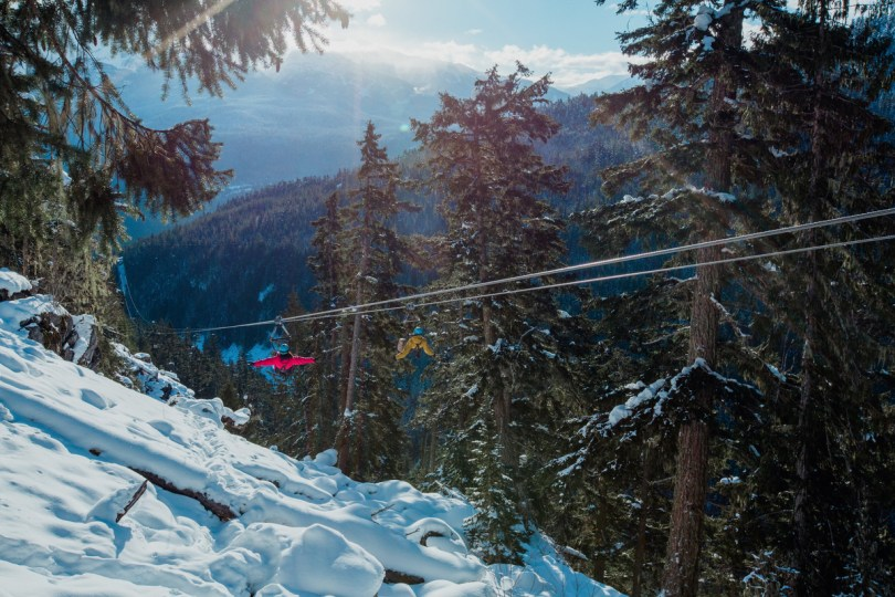 Zip lining in Whistler, Canada over the snowy mountains