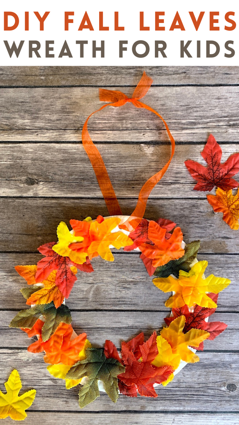 DIY Fall Leaves Wreath Craft for Kids - we love this fun fall leaf project made with paper plates