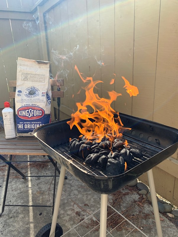Lighting the grill with Kingsford Original Charcoal