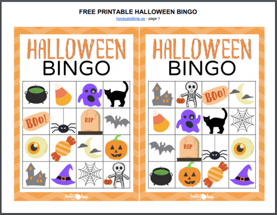 FREE PRINTABLE HALLOWEEN BINGO - honeyandlime.co