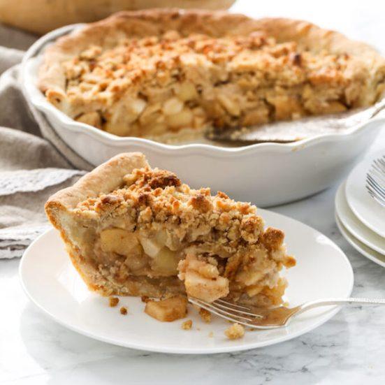 Dutch Apple Crumble Pie slice on plate