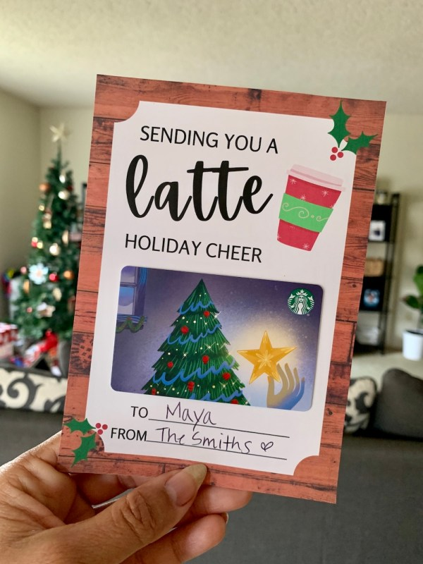 Sending You A Latte Holiday Cheer Starbucks gift card holder printable