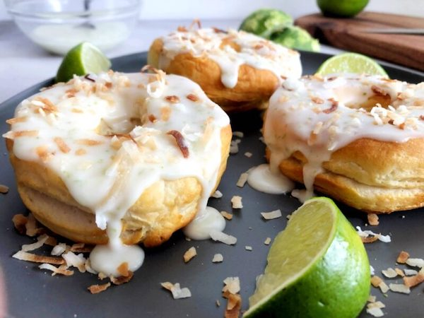 Coconut lime donuts with lime and toasted coconut