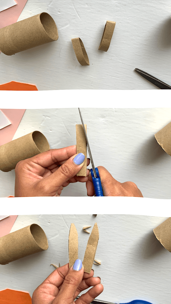 Cutting bunny ears toilet paper roll craft