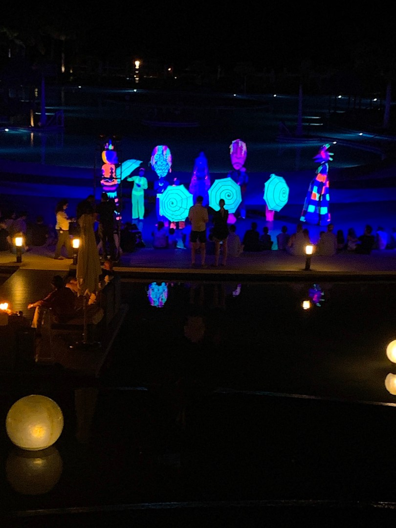Fun light show by the pool at the Hyatt Ziva Cabo All-Inclusive