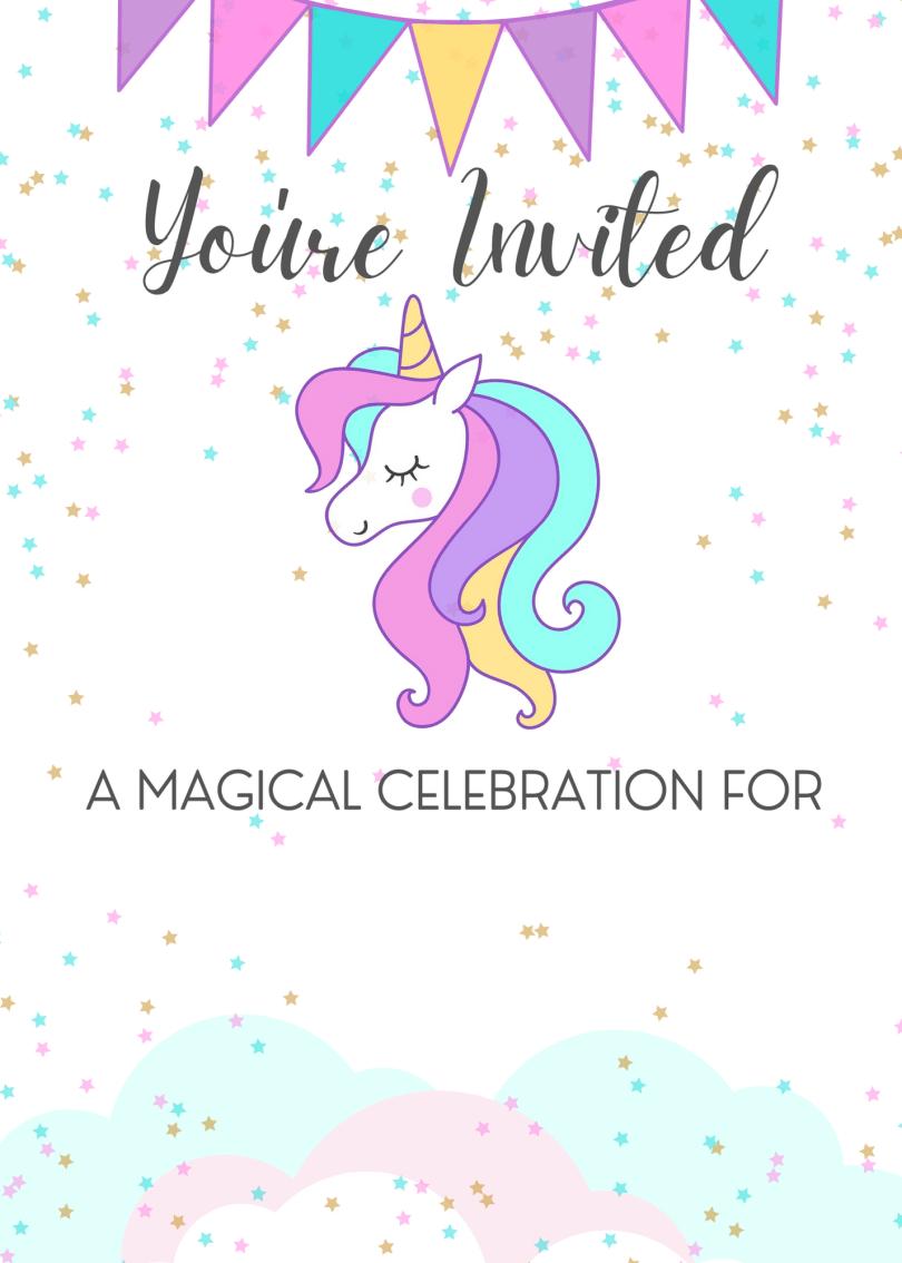 Free blank printable unicorn invitation template