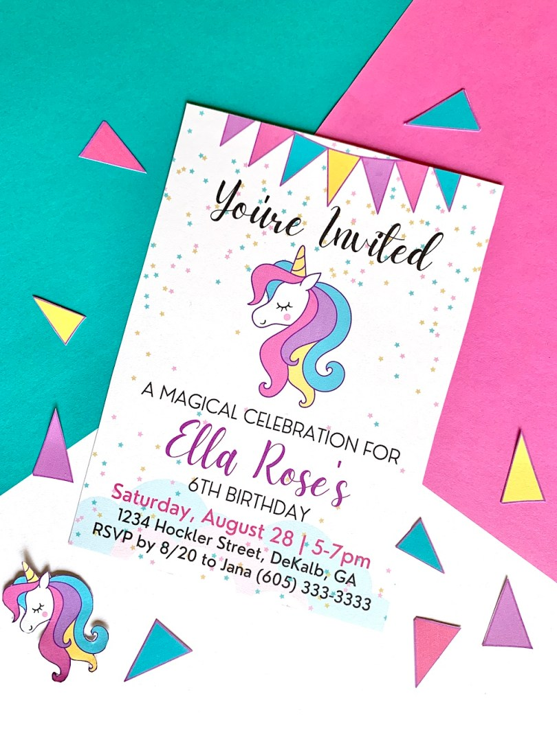 Free blank printable unicorn party invitation template