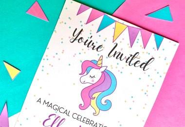 Unicorn sample invitation - free printable unicorn birthday party invite cards