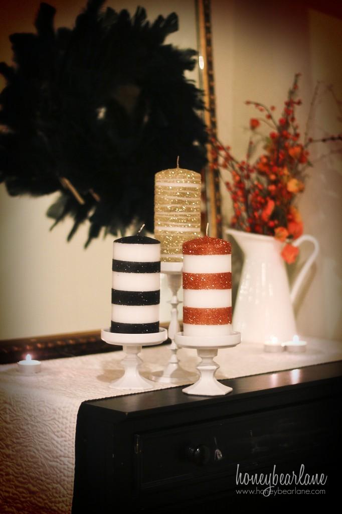 Glitter Striped Candles HoneyBear Lane