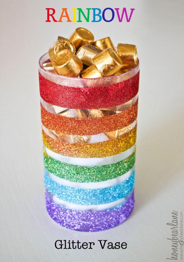 Rainbow Glitter Vase