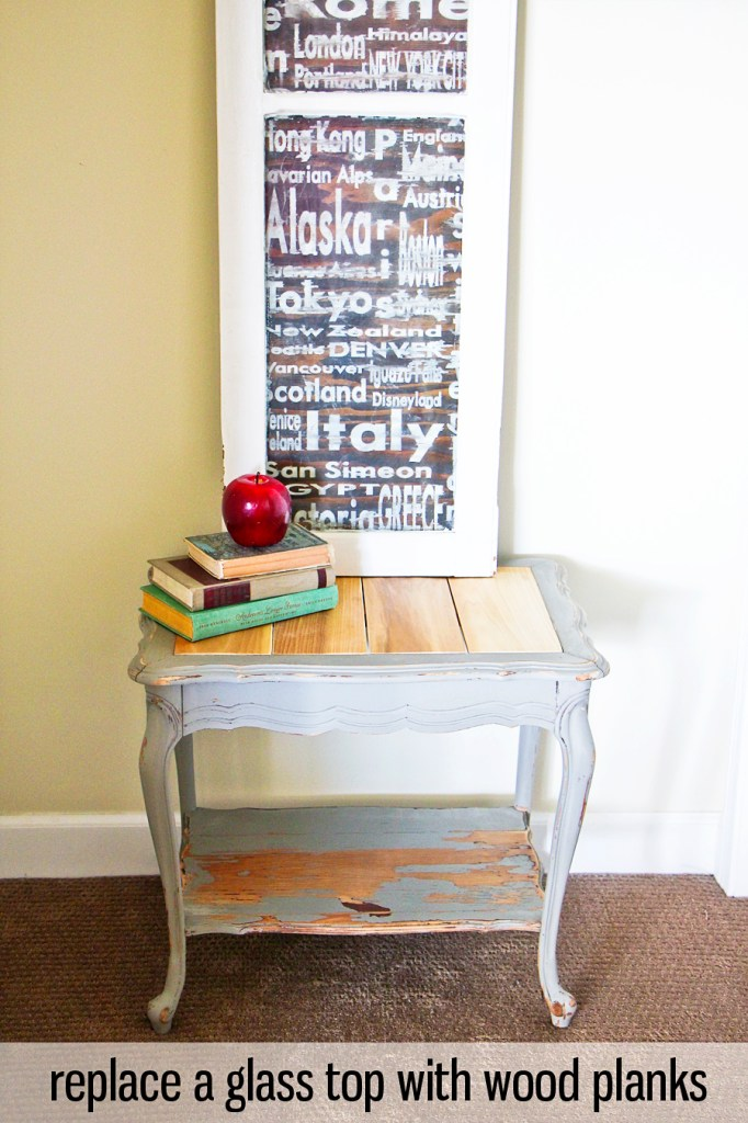 how to replace a glass table top with wood planks