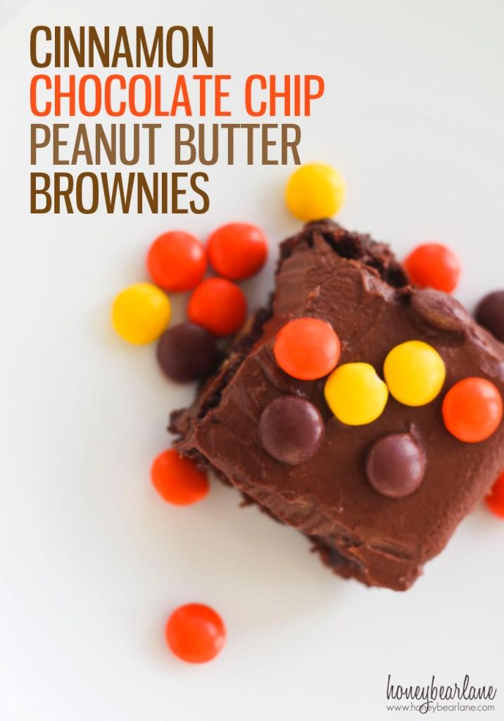 Cinnamon Chocolate Chip Peanut Butter Brownies