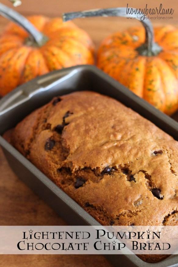 lightened pumpkin chocolate chip bread