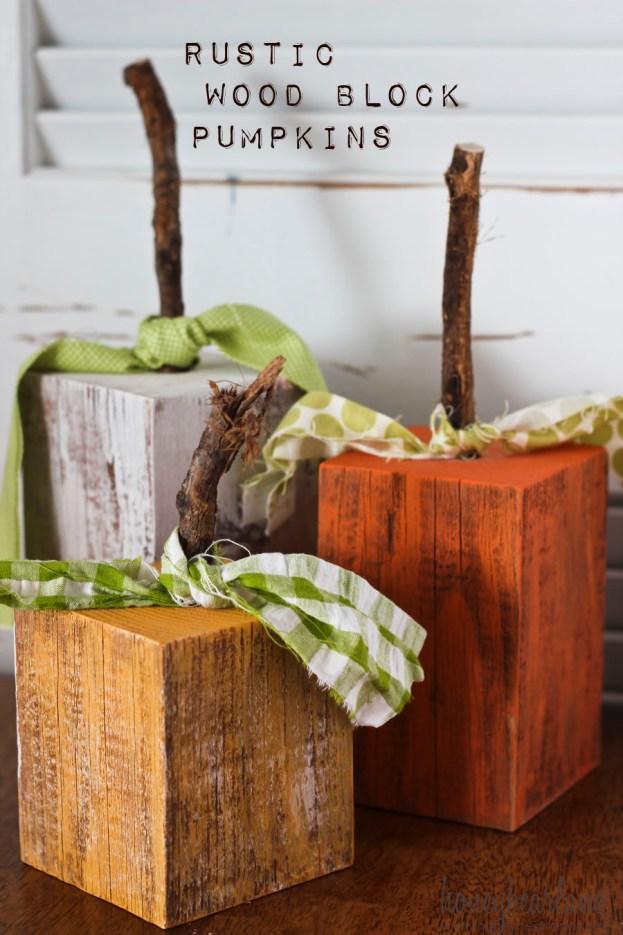 rustic wood block pumpkins