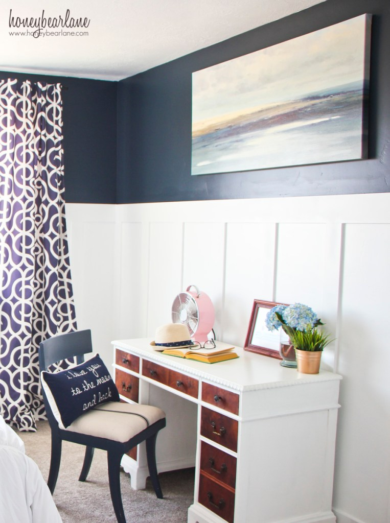 navy blue and pink bedroom 2