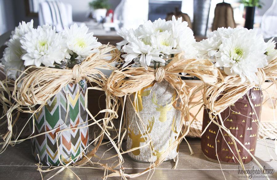 decoupaged mason jars