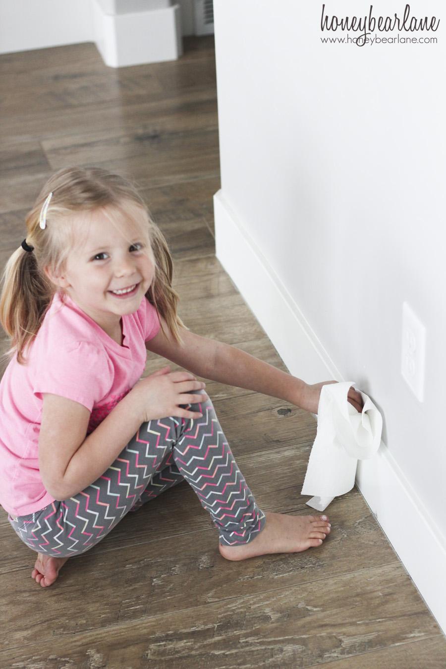 Girl Cleaning Baseboards Honeybear Lane