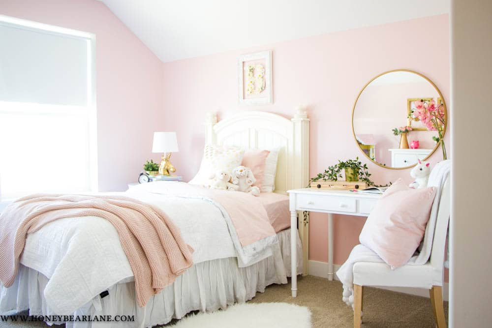 pink and gold girls bedroom