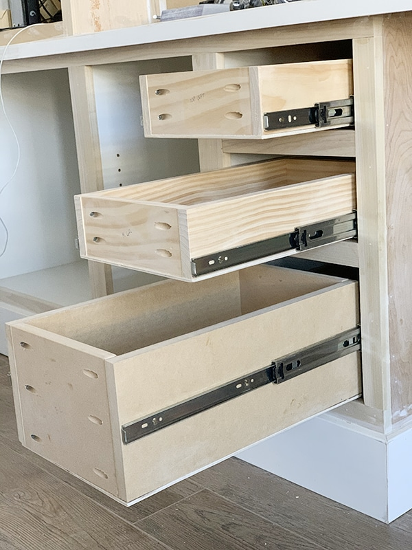 unfinished office built in drawers