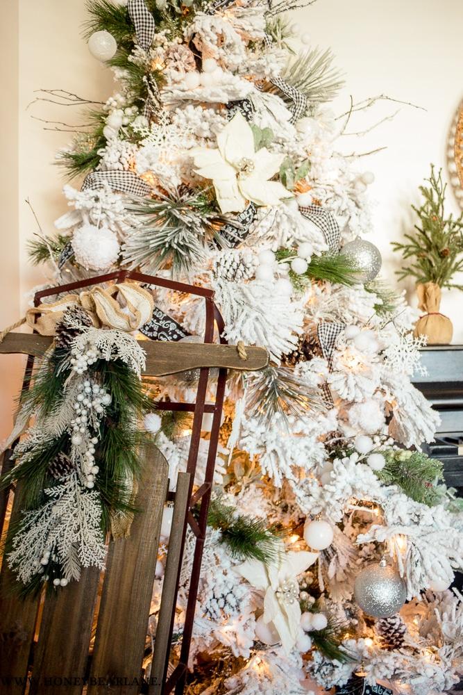 beautiful flocked christmas tree