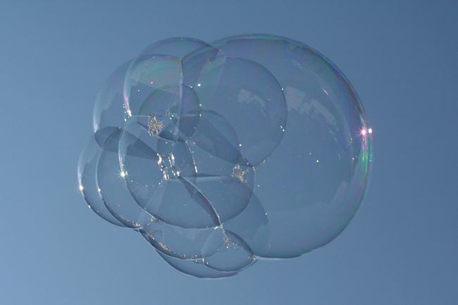 soap-bubbles stuck together