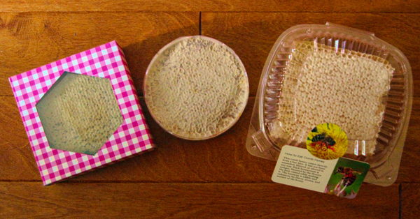 Comb presentations: From left is a Kelley square in a homemade box, a Ross Round in a plastic box, and cut comb in a plastic clam shell with serving instructions.