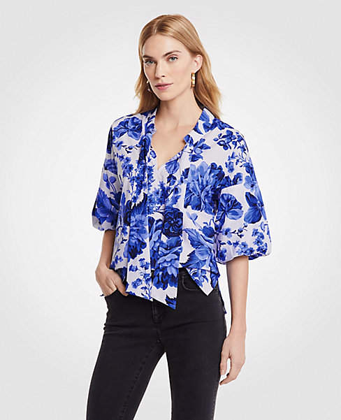 Floral Toile Tie Neck Puff Sleeve Blouse