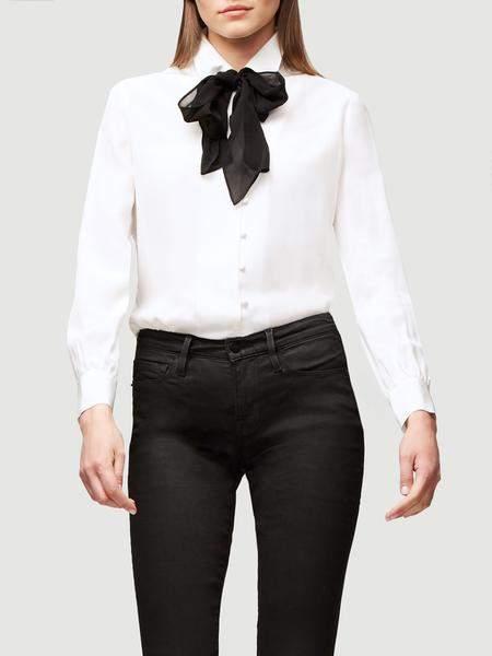 Frame Denim Pussy Bow Silk Blouse