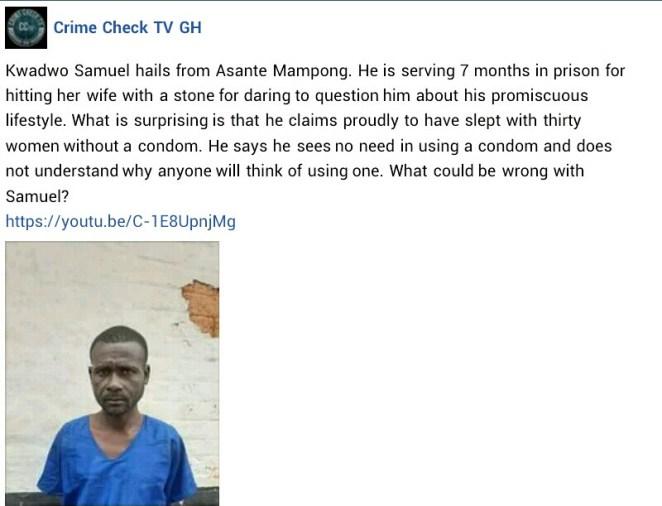 Ghanaian man claims to have slept with 30 women without condom