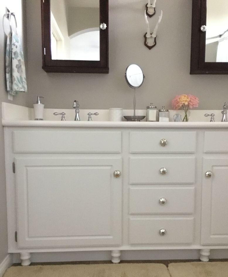 Updating a builder 39 s grade bathroom honey n hydrangea for Updating a bathroom