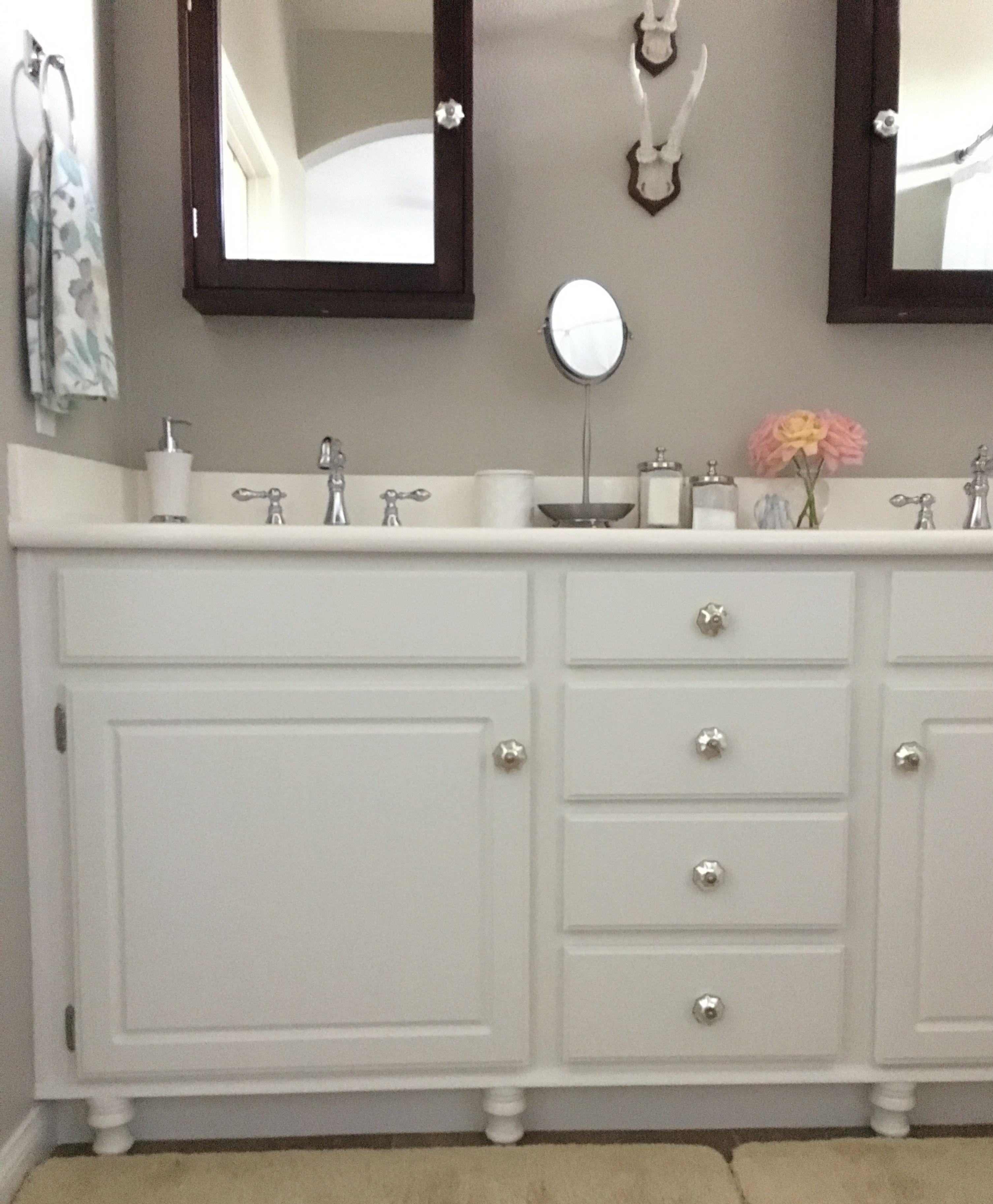 Adding Wood Feet to a Bathroom Vanity - Honey N Hydrangea