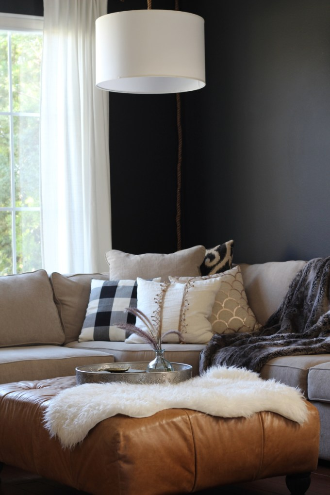 A moody fall home tour with pomegranates, plums, olive branches, black and white buffalo check