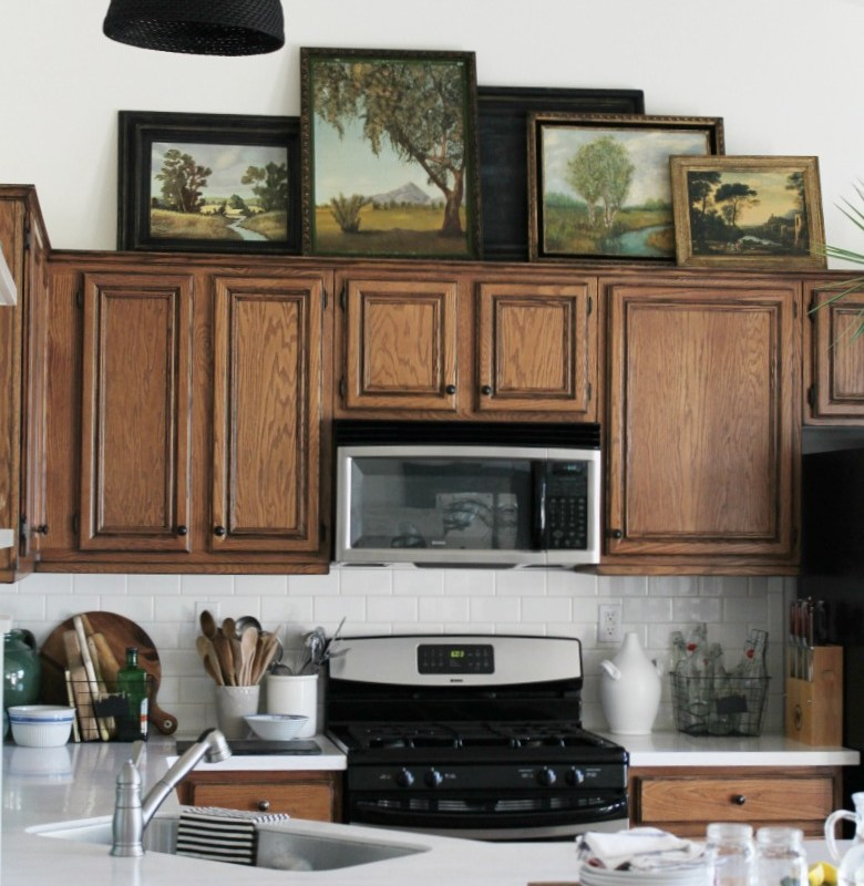Vintage Oil Paintings in the Kitchen