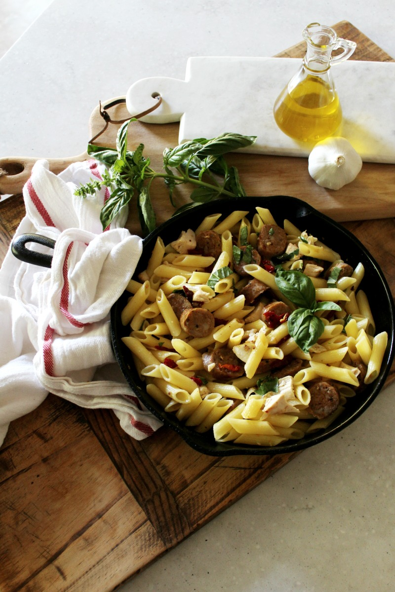 Barilla gluten free pasta with sun dried tomatoes and fresh basil