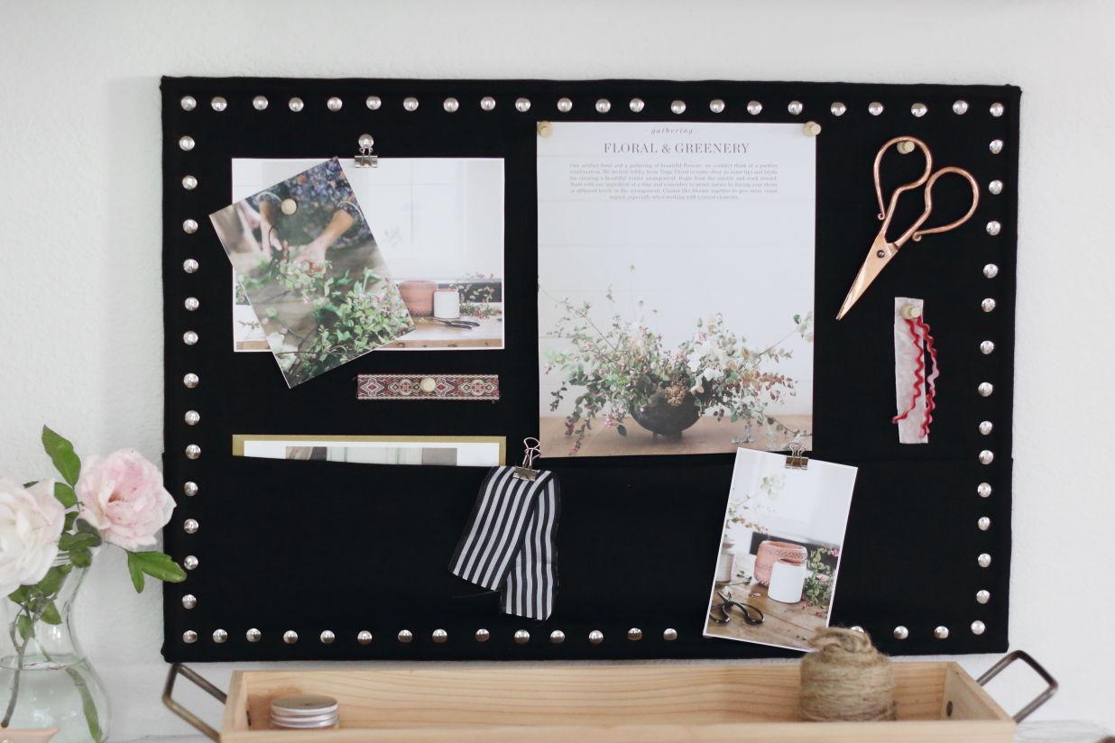 DIY linen covered memo board