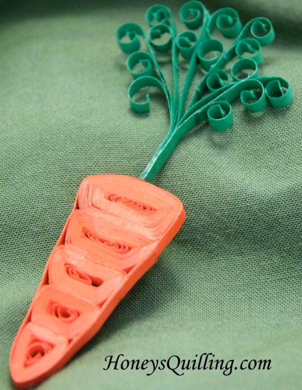 paper quilled carrot magnet by Honey's Quilling