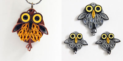 feathery paper quilled owl jewelryfeathery paper quilled owl jewelry