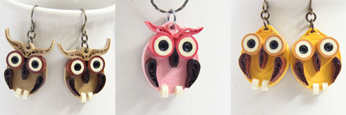paper quilled owl earrings and pendants
