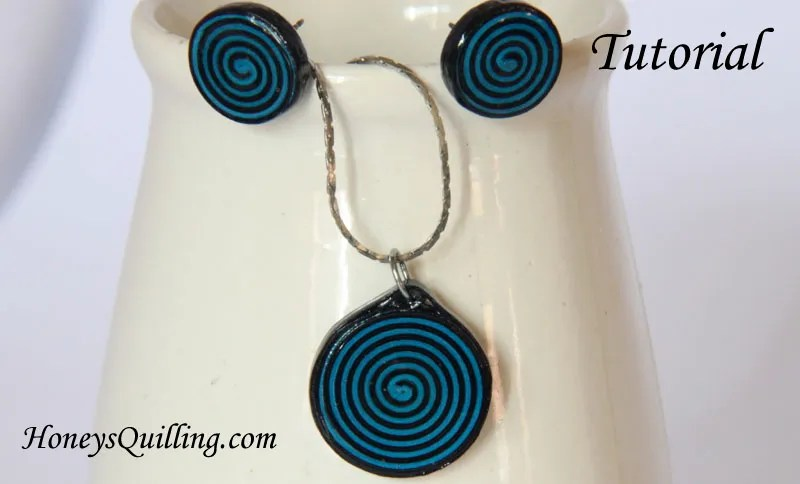 How to make a set of spiral earrings and a pendant and how to apply sealant to make it water resistant.  Free tutorial from Honey's Quilling