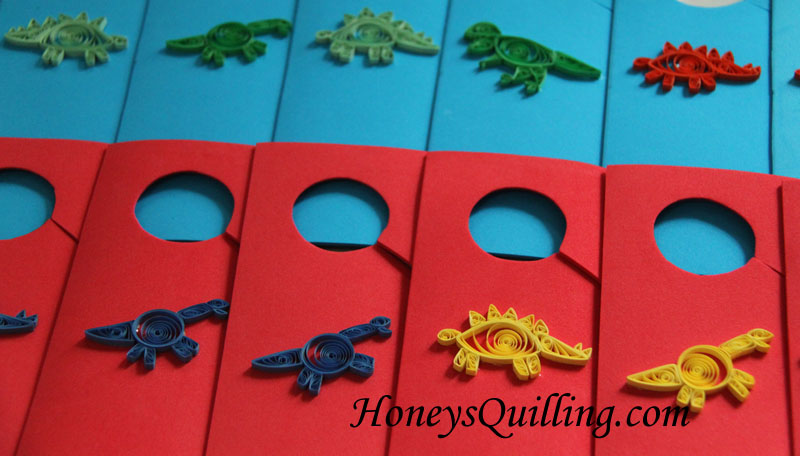 Paper Quilled Dinosaur Themed Gift Bags and Doorknob Hangers - Honey's Quilling