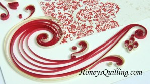 red lotus wedding frame paper quilling design - by Honey's Quilling