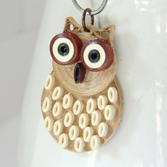 paper quilled owl pendant brown barn owl by Honey's Quilling